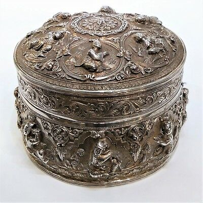 Antique Burmese Silver Betel Box, Circular With Removable Tray, Late 19Th Cent.