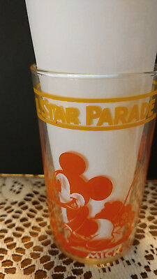 Vintage Disney Glass Tumbler Mickey Minnie Pluto 1939 All Star Parade FREE SHIP
