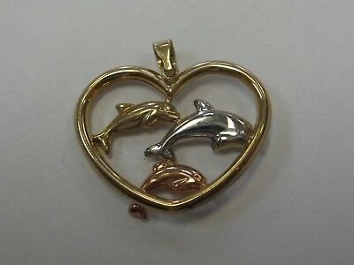 Beautiful Tri Colored Gold Dolphin Pendant Crafted in 10K Gold