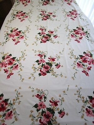 Vintage Tablecloth Wilendur? Floral Print Red Pink Yellow 52X84 Banquet Large Ex