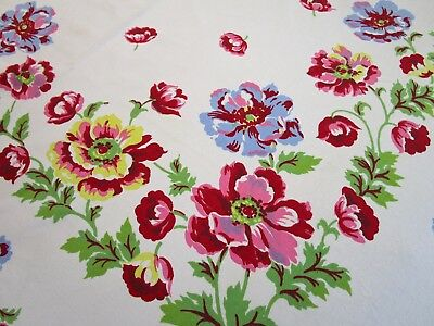 Vintage Tablecloth Wilendur ? Floral Print Rose Red Blue Yellow 63X88 Banquet Lg