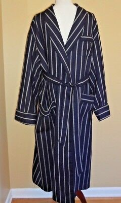 VTG Men's Brooks Brothers Blue w/Gray Stripes Wool Robe Long in size L