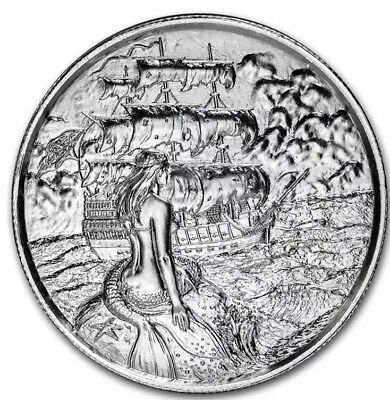 Privateer Collection Siren Mermaid Ultra High Relief 2 Oz Pure Silver Round .999