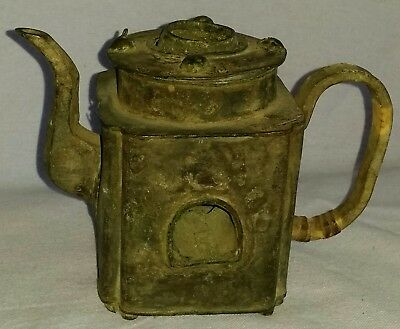 Ancient Chinese Bronze Teapot With Fire-Box