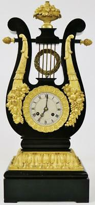 Exceptional Antique French Ebonised & Bronze Ormolu Lyre Mystery Regulator Clock