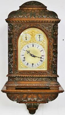 Rare Antique W&H Carved Oak 3 Train Musical 9 Gong Bracket Clock On Wall Bracket