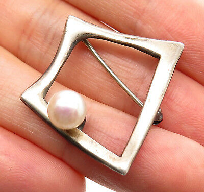 Signed Rare Vintage 925 Sterling Silver Real Pearl Modernist Designer Pin Brooch