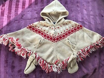 BABY Girls Burberry Poncho 2 -  3 - 4 Years Designer Childs Wool Hooded Poncho