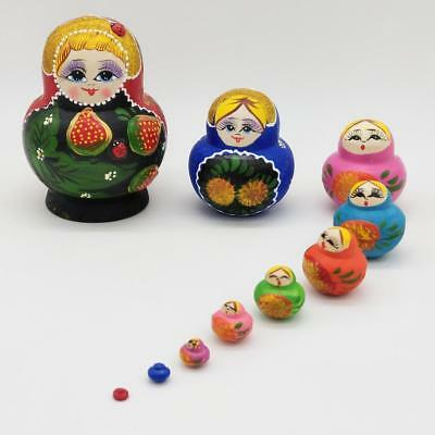 10pcs Strawberry Printed Nesting Dolls Russian Babushka Matryoshka Kids Gift
