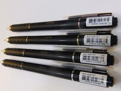 4 TUL Limited Edition Black Retractable Gel Pens Medium 0.7mm Black Gold Rose Si