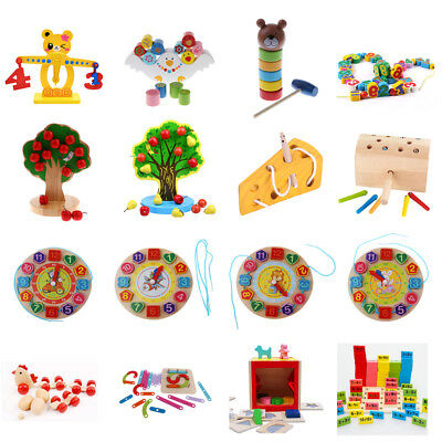 Kids Baby Wooden Montessori Toys Learning Geometry/ Lacing/ Math Educational Toy