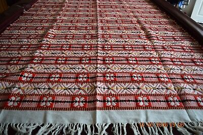 Beautiful Woven Coverlet with Fringe Wool Cotton  48 X 85