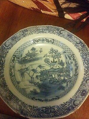 antique chinese canton plate. blue and white.