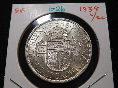 G26 British Africa Southern Rhodesia 1938 1/2 Crown