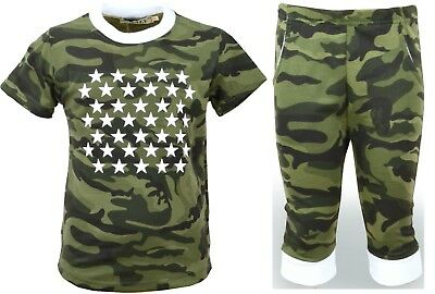 Boys T-Shirts & Shorts Khaki / Grey Army Camouflage Kids Clothes Ages 3-12 Years