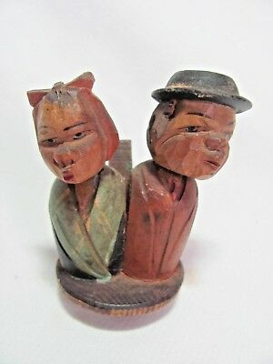 Vintage Hand Carved Mechanical Bottle Stopper Kissing Man & Woman #5