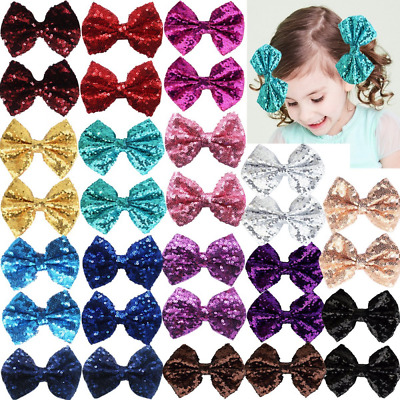 """Party Festival Baby Girls Sparkling Bows Clips-30 Piece Glitter Sequins 4"""" Hair"""