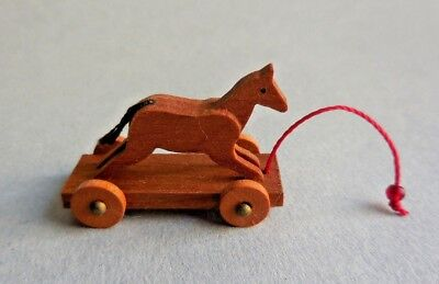 Dollhouse Miniature ~ Pull Toy With Horse Hand Made