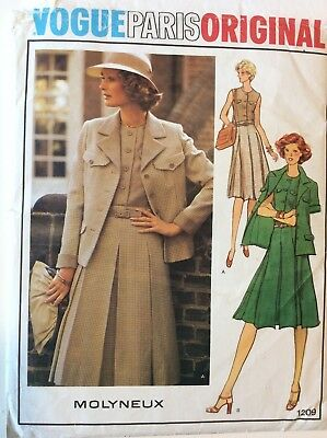 Vogue Paris Original Dress & Jacket Pattern #1209, Molyneux, ca. 1970s Uncut