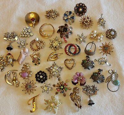 Large Lot Of Brooch Scatter Pins Mamselle Crystal Rhinestone Stars Bow