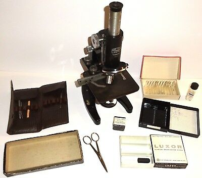 Vintage CARL ZEISS Germany JENA MICROSCOPE w/TWO (2) LENSES & ACCESSORIES! NR!