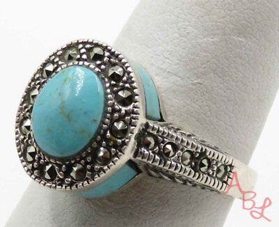 Sterling Silver 925 Cocktail Turquoise & Marcasite Ring Sz 7 (6.2g) - 720097