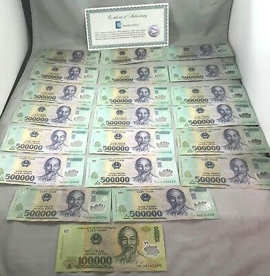10 MILLION DONG = 20 x 500,000 500000 VIETNAM POLYMER CURRENCY BANKNOTES