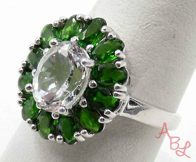 Sterling Silver Vintage 925 Cluster Green & White Stone Ring Sz 9 (6.4g) -720359