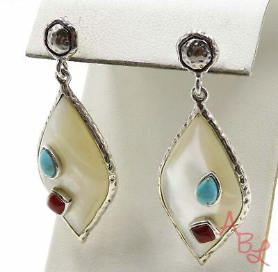 Sterling Silver 925 Hammered MOP, Turquoise, Carnelian Earrings (14.7g) - 720086