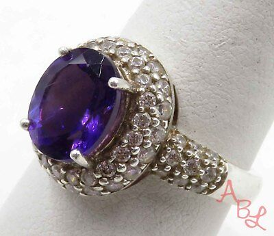 Han Sterling Silver 925 Cocktail Amethyst & White Stone Ring Sz 9 (7g) - 720357