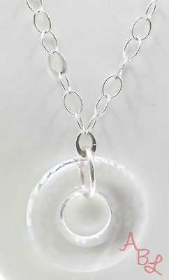 "Sterling Silver 925 Round Link Chain Clear Stone Necklace 18"" (20g) - 720298"