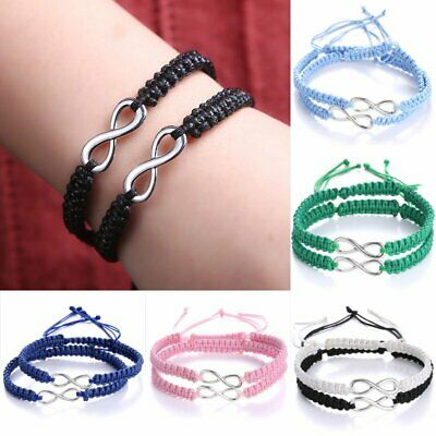 2pcs Best Friend 8 Charms Pendant Braid Velvet Leather Infinity Bracelet Bangle