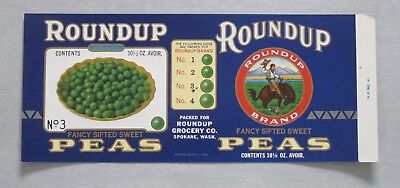Roundup Grocery Co: ***unused Embossed Mint Label***rare