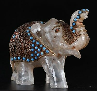Chinese carved Crystal Mosaic turquoise copper elephant statue