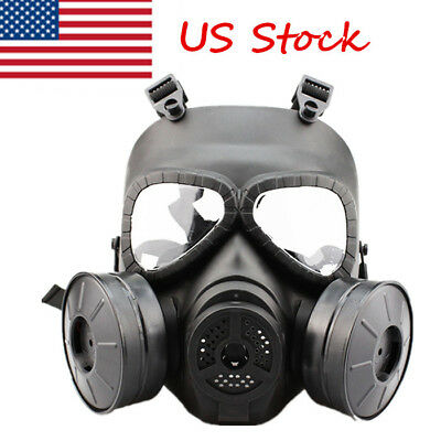 US Double Filter Fan Gas Mask CS Edition Perspiration Breathabl Dust Face Guard