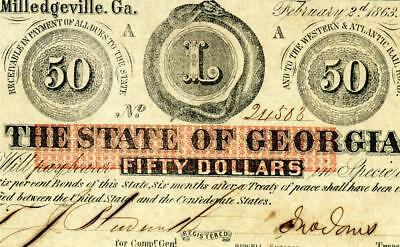 HGR FRIDAY 1863 $50 Confederate (State of Georgia) Appears CHOICE UNCIRCULATED
