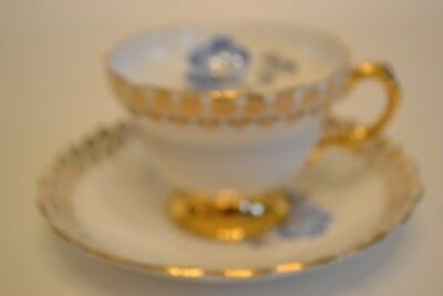 Rosina Cup and Saucer Blue Rose with Gold/Gilt Trim.