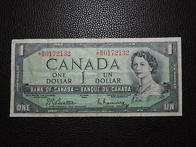 1954 $1 Dollar Bank of Canada Replacement Banknote *B/M 0172132 VF Grade