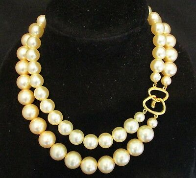 Vintage CHUNKY 2 Strand Champagne Faux Pearl Necklace w/BIG 17mm BEADS - KJL ?