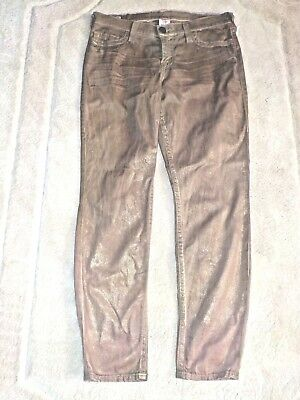Womens True Religion Halle Jeans Gold Metallic Coated 32