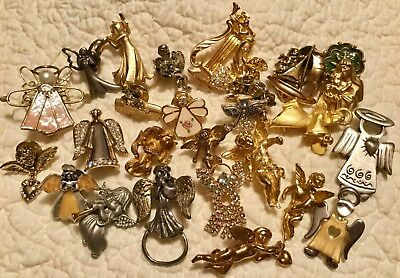 Vintage ANGEL PIN Brooch LOT Of 25 Religious- Kirk's Folly Avon Monet Camco +
