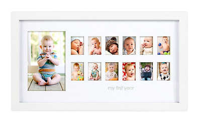 Pearhead My First Year Photo Moments Baby Keepsake Frame, White
