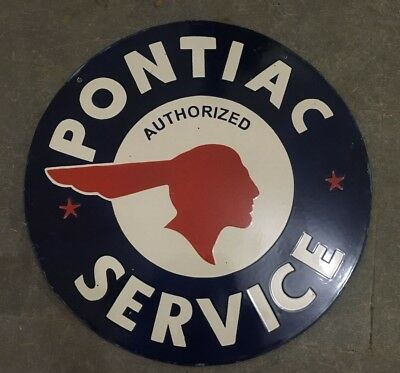 """Porcelain Pontiac Service Sign SIZE 24"""" INCHES round 2 SIDED"""