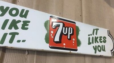 "Porcelain 7UP LOOKS LIKE IT Sign SIZE 30"" X 7"" INCHES"