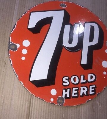 """Porcelain 7up Sign SIZE 12"""" INCHES Round"""