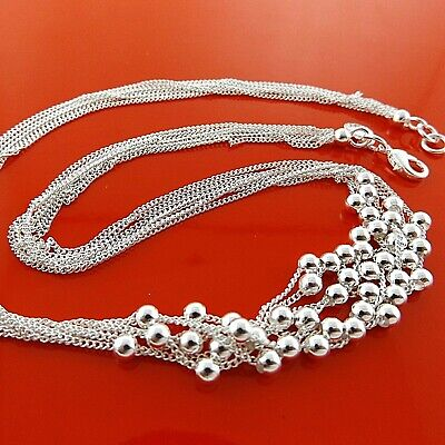 Necklace Chain Genuine Real 925 Sterling Silver S/f Ladies Italian Bead Design