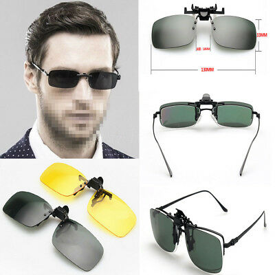 Flip-up Clip-on Men's Polarized Day Night Vision Lens Driving Glasses Sunglass