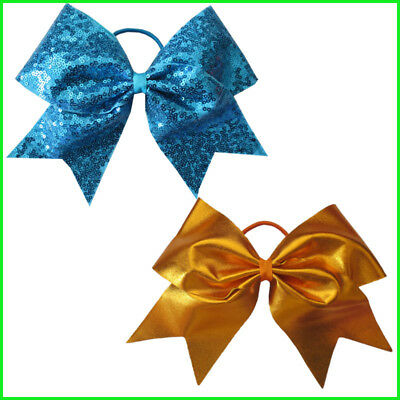 16 BLESSING Good Girl 4.5 Inch Spangle Cheer Leader Bow Elastic Flash Wholesale