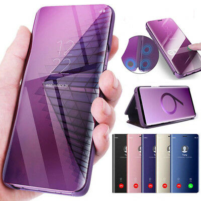 Case For Samsung Galaxy Note 8 S8 S9 Clear View Mirror Leather Flip Stand Cover