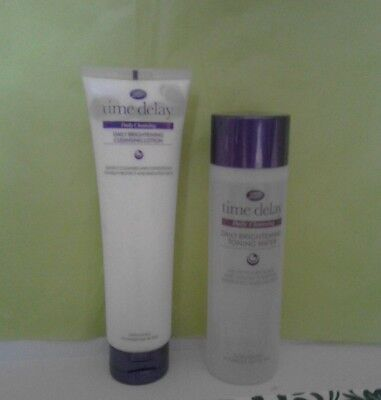 Boots Time Delay Daily Brightening Tonning Water & Cleansing Lotion Duo